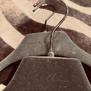 (2) Authentic Rick Owens Gray Velvet Coat Hangers